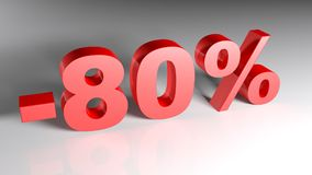 Discount 80% - 3D rendering Royalty Free Stock Photo