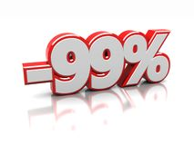 Discount 99 percent. Ninety nine percent isolated on a white background, 3d image stock illustration