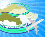 Discount Airlines Showing Special Offer Flights 3d Illustration. Discount Airlines Plane Showing Special Offer Flights 3d Illustration Stock Photos