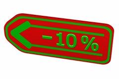 Discount - 10 % arrow. 3D rendering. Stock Image