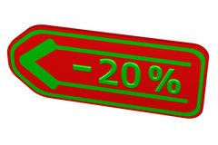 Discount - 20 % arrow. 3D rendering. Discount - 20 % arrow, isolated on white background. 3D rendering Stock Photography
