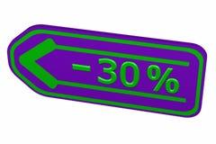 Discount - 30 % arrow. 3D rendering. Discount - 30 % arrow,  on white background. 3D rendering Stock Photos