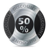 50% discount badge design. On white background vector illustration