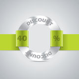 Discount badge with green ribbon Royalty Free Stock Photo