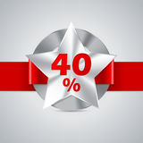40% discount badge with red ribbon Royalty Free Stock Photo