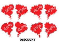 Discount Balloons. 4 type of discount ballons Royalty Free Stock Photos