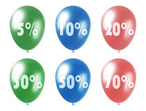 Discount balloons set. Set of six balloons of red, green and blue colors with discount percentage inscriptions on them Stock Illustration