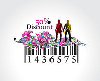 Discount banner. 50% discount, man showing of discount in barcode element concept. Vector illustration stock illustration