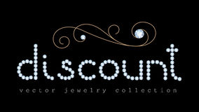 Discount banner with diamond jewelry letters Royalty Free Stock Images