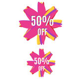 Discount banner for market 50% off, colorful in two variations. Stock Photos
