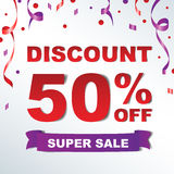 Discount 50%. Banner with Sale promotion discount 50% off Stock Images