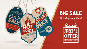 Discount banner with tags royalty free illustration