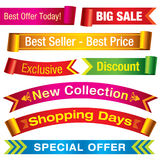Discount banners. Various colorful discount and sale ribbons. Visit my portfolio for similar images Stock Photos