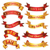 Discount banners. Collection of various sale and discount ribbons. Visit my portfolio for similar images Stock Images