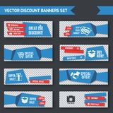 Discount banners blue origami set Royalty Free Stock Image