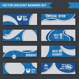 Discount banners blue set. Discount super sale special offer blue paper banners set with waves decoration isolated vector illustration Stock Photography