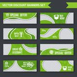 Discount banners green set. Discount promotion advertising green paper banners set isolated vector illustration Stock Image