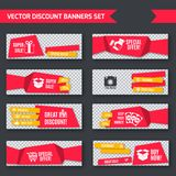 Discount banners red set. Discount super sale special offer red paper banners set isolated vector illustration Royalty Free Stock Photo