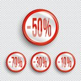 Discount banners on transparent background.. -70% -50% -30% -10% off icons. Vector Royalty Free Stock Photography