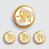 Discount banners on transparent background.. -70% -50% -30% -10% off icons. Vector Royalty Free Stock Photos