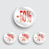 Discount banners on transparent background.. -70% -50% -30% -10% off icons. Vector Stock Photography