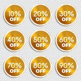 Discount banners. -10% -20% -30% -40% -50% -60% -70% -80% -90% off icons. Discount banners. Vector illustration.  -10% -20% -30% -40% -50% -60% -70% -80% -90% Royalty Free Stock Photos