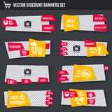 Discount banners yellow and red set Royalty Free Stock Photos