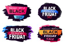 Discount -25 Big Sale on Vector Illustration. Discount -25 off, big sale 2017 Black Friday, collection of stickers dedicated to shopping day theme, on vector Stock Images