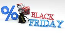 Discount black friday concept, 3d Royalty Free Stock Images