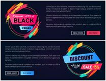 Discount Black Friday -15 Vector Illustration. Discount black friday -15 off, pages with blue and pink buttons, given information and colorful stickers with Stock Photos