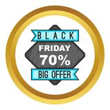 70 Black Friday sale. icon. Discount 70 Black Friday sale. icon in golden circle, cartoon style isolated on white background stock illustration