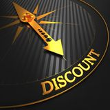 Discount on Black and Golden Compass. Royalty Free Stock Photos