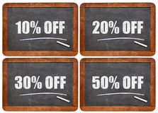 Discount blackboard sign set Royalty Free Stock Images