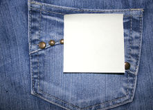 Discount blank post-it on jeans Royalty Free Stock Photography