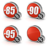 Discount 85% 90% 95% and blank sale 3d icon on white background Royalty Free Stock Photos