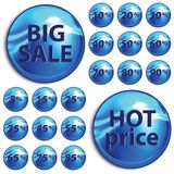 Discount blue stickers on white background. Vector illustration Stock Image
