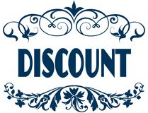 DISCOUNT blue text frames. Royalty Free Stock Photo