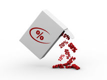Discount box. Spilling percentage discounts Stock Image