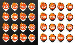Discount Burning Pins. 32 Black and White Variations. Isolated Vector Objects. Royalty Free Stock Photo