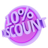 Discount button. 3d rendered, green 10 percent discount button vector illustration