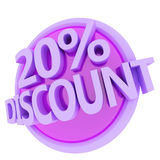 Discount button. 3d rendered, green 20 percent discount button Royalty Free Stock Photos