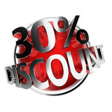Discount button. 3d rendered red discount button - 30 Royalty Free Stock Photo