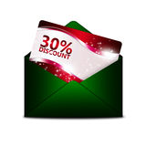Discount card in green envelope Stock Photo