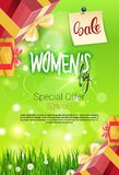 Discount Card International Women Day Sale Special Offer Promotion Template Flyer Design. Vector Illustration Stock Photo