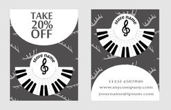 Discount card for the presentation of musical store. advertising design in style of music for presentation. Discount for the presentation of musical store Royalty Free Stock Image