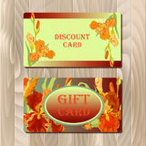 Discount card printable template with red iris flower design. Royalty Free Stock Images