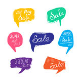 Discount card set of Sale. Hand drawn collection of labels and logos. Vector set of comic speech bubbles Royalty Free Stock Images