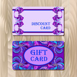 Discount card template with peacock feathers design. Stock Photography