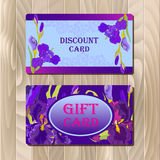 Discount card template with purple iris flower design. Royalty Free Stock Image