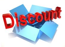 Discount on a cardboard box Royalty Free Stock Images